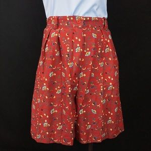 Vintage Tracy Evans Red Floral High Rise Shorts